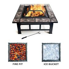 Square Garden Fire Pit With Tiles Large Log Burner Ice Bucket Outdoor Heater