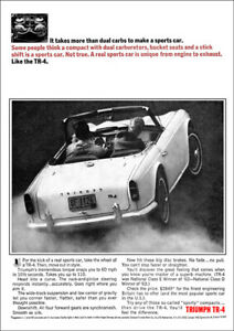 TRIUMPH TR4 RETRO A3 POSTER PRINT FROM CLASSIC 60'S ADVERT