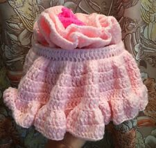 VTG Toilet Paper Caddy Cover Pink Knit Yarn Flower NEW OLD STOCK NEVER USED