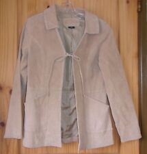 me jane Vintage Camel Leather Coat, Tie Close, Whip Stitch Trim, Womens M