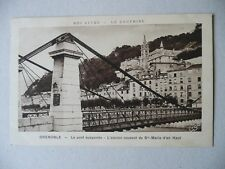 GRENOBLE Le pont suspendu 1930 Vintage Postcard (France Suspension Bridge Erge)
