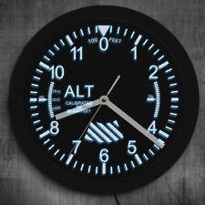 Military Wall Clock Altimeter Big Unique Exclusive LED Gift Pilot Altidute LED