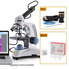 Swift 40x 1000x Compound Microscope Dual Led 13mp Camera 50pcs Blank Slides