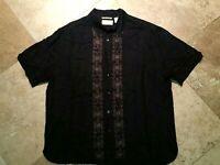 Cubavera Embroidered Button Front Short Sleeve Shirt Linen Blend Black XL