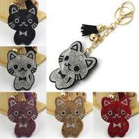 Unisex Cartoon key Ring Bag Pendant Key Chain Crystal Cat Tassel Cute