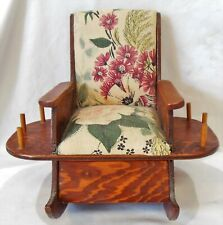 Vintage Wood Rocking Chair Barkcloth Pincushion 6 Thread Spool Holders & Drawer