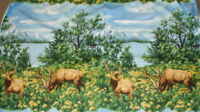 American Elk scenic wildlife Exclusively Quilters panel fabric