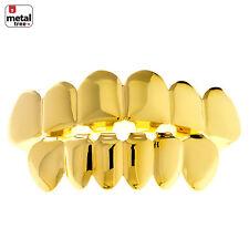 Men Fit Hip Hop GRILLZ SET Gold Plated Top & Bottom Plain Cap Teeth LS 001 G CH