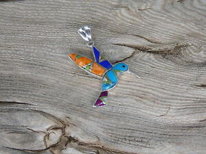 Hummingbird Sterling Silver 925 Multi Gem Stone & Opal Inlayed Colorful Pendant