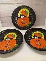 "3 Vintage Ullman Company Plastic 9.5"" Bowl Halloween Black Cat Jack-O-Lantern"