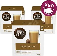 NESCAFE Dolce Gusto Cafe Coffee Au Lait Pack of 3 Total 90 Capsules Servings NEW