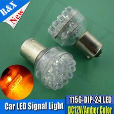 2X DC 12V 24-LED BA15S 1156 AMBER INDICATOR AUTOMOTIVE Blinker/Orange Light Bulb