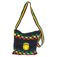 New Genuine RASTA Shoulder Tote Black Bag Happy Face w Zipper Handmade Bob Marle