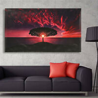 Sunset Glow Clouds Tree Canvas Print Art Painting Picture Huge Home Wall  CN SU