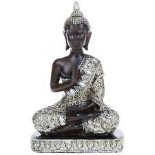 Meditating Thai Buddha 18cm Silver Gold Statue Ornament Figurine