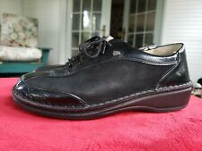 FINN COMFORT Shoes Germany 37 D US 7 Women's Black Leather Suede Lace-up
