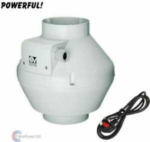 """Vortice 4 5 6 8 10 12"""" Inline Duct Extractor Bathroom Shower Fan upto 1100m3/hr"""