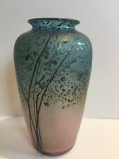 Fine Peet Robison Studio Glass Iridescent Sunset Landscape Vase 8.5 Inches