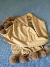 Scialle Misto Cachemire Wrap scialle con pelliccia pon in Biege