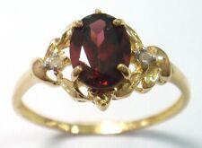 SYJEWELLERY NICE 9CT YELLOW GOLD OVAL NATURAL GARNET & DIAMOND RING SIZE N R1326