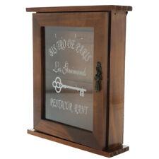6-Hook Wooden Key Holder Rack Key Organizer Box Wall Mounted/ Tabletop Brown