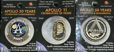 Set of 3 MINT APOLLO 11 50th Anniversary Lunar FLOWN Official NASA Metal Pin COA