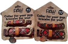 Red Plaid Dog Collar & Matching Friendship Bracelet with Charm Set XS/S or M/L