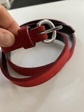 HOBBS RED SUEDE LEATHER BELT IN SMALL