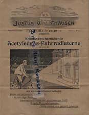 Munich, publicidad 1910, Justus waldthausen bicicleta piezas acetylengas-fahrradlaterne
