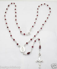 "26"" Garnet Gemstone Bead Ball Rosary Chain Necklace Real Sterling Silver"