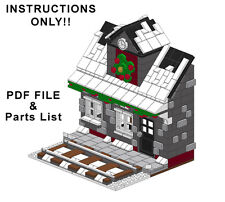 Lego Custom Winter Village - Train Station INSTRUCTIONS ONLY! Holiday