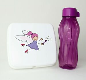 TUPPERWARE  Lunchbox, Sandwichbox Fee WEISS + EcoEasy Trinkflasche 310ml Fuchsia
