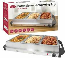 Quest Triple Buffet Warming Server Tray Stainless Steel Silvr 300W 2.4L Per Tray