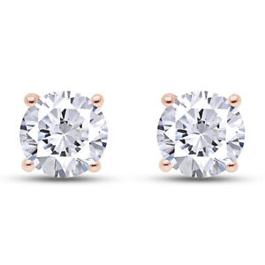 Round Cut Simulated Diamond Solitaire Stud Earrings Solid 18k Rose Gold