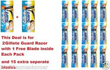 2 Gillette Guard Razor with blade cartridge +15 Extra Blades Cartridge Men Shave