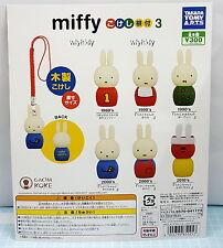 Miffy Kokeshi Netsuke 3 Wooden Mascot 6pcs  - Takara Tomy ARTS