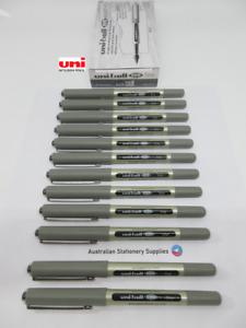 12 x BLACK Uniball Eye Fine Pen 0.7mm S/Steel Tip Capped UB157 sent tracked