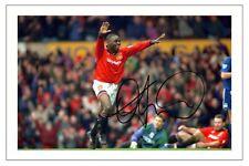 Andy Cole Manchester United autografo signed foto Stampa Calcio