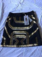 ZARA Bershka Women's Black W/Gold Beaded Sequined Lined Mini Skirt Size XS