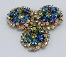 Vintage Blue Aurora Borealis Crystal Rhinestone Brooch Juliana?