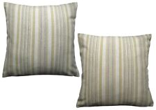 Ex-Chainstore Pack of 2 Costal Stripes Cushion Covers Green/ Beige/ Cream