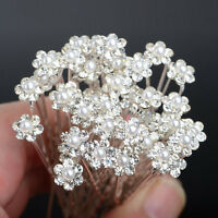 40 PCS Wedding Hair Pins Crystal Pearl Flower Bridal Hairpins Accessories piN PL