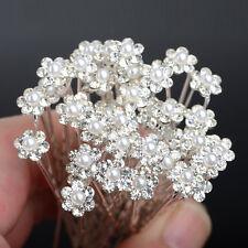 40 PCS Wedding Hair Pins Crystal Pearl Flower Bridal Hairpins Accessories piNIU