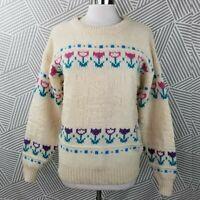 Vintage Woolrich Sweater size Large Tulip Windmill pastel fairy kei Cottagecore