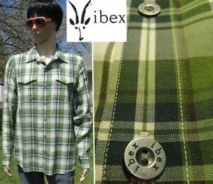 mint! IBEX shirt merino wool long sleeve green plaid taos button front men large