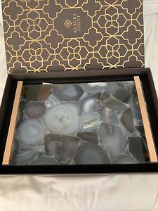 NIB Kendra Scott Agate 14K Rose Gold Plated Stone Slab large Tray $495 Blue Gray