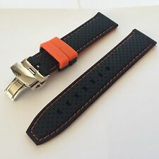 22mm Black Orange Silicone Rubber Dive Watch Band Strap & 20mm deployment clasp