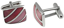 PINK SHELL STRIPED CUFFLINKS STERLING SILVER 925 HALLMARKED FROM ARI D NORMAN
