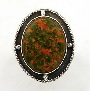 Natural Unakite 925 Sterling Silver Ring Jewelry Sz 6.5, ED19-8