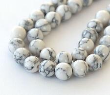 8mm White Magnesite Round Beads - 15 inch strand